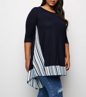 Blue Vanilla Curves Navy Dip Stripe Hem Tunic