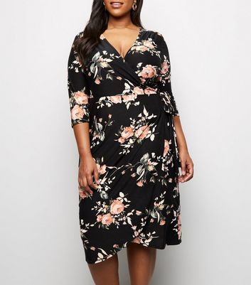 Blue Vanilla Curves Black Floral Wrap Dress