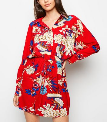 AX Paris Red Floral Batwing Sleeve Dress