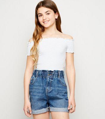 Girls Blue Paperbag Denim Shorts
