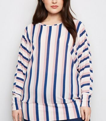Blue Vanilla Curves Blue Stripe Plissé Top