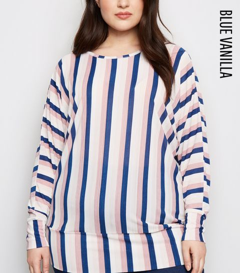 897210e9c3416 ... Blue Vanilla Curves Blue Stripe Plissé Top ...