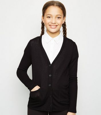Girls Black Fine Knit Cardigan