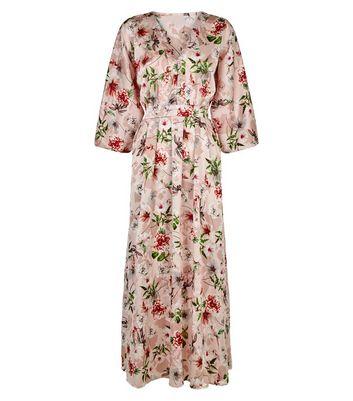 Blue Vanilla Pink Floral Button Kimono Maxi Dress New Look