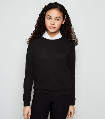 Girls Black Fine Knit Jumper