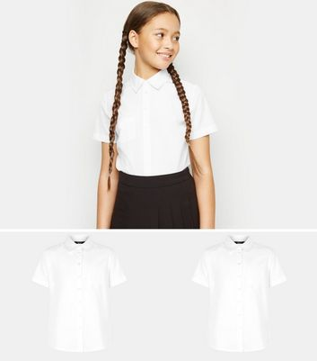 Girls 2 Pack White Short Sleeve Shirts