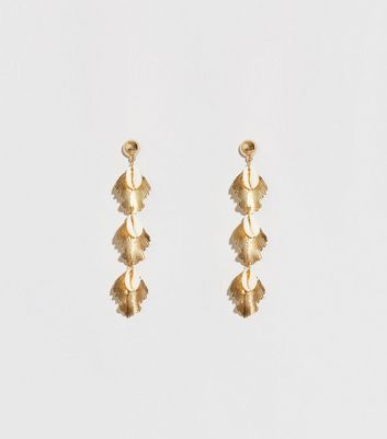 Gold 3 Shell Drop Earrings