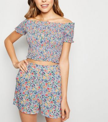 Purple Ditsy Floral High Waist Shorts