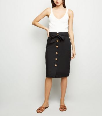 Black Linen Blend Pencil Skirt