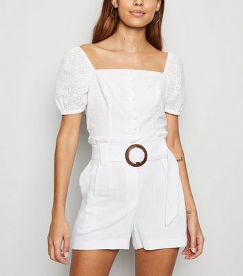 White Linen Look Buckle Shorts