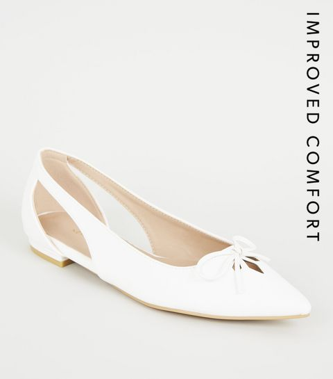 14831ef458b ... White Leather-look Pointed Ballet Pumps ...