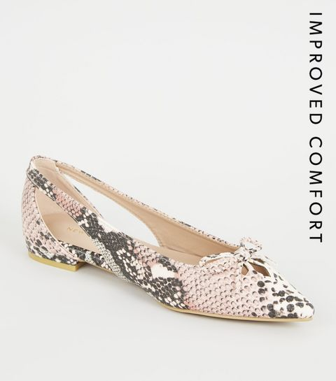 65f3cbc4f44 ... Camel Faux Snake Pointed Ballet Pumps ...