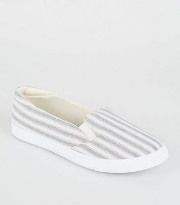 Girls Blue Canvas Stripe Slip On Trainers