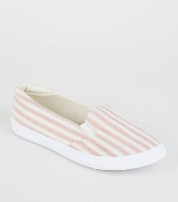Girls Red Canvas Stripe Slip On Trainers