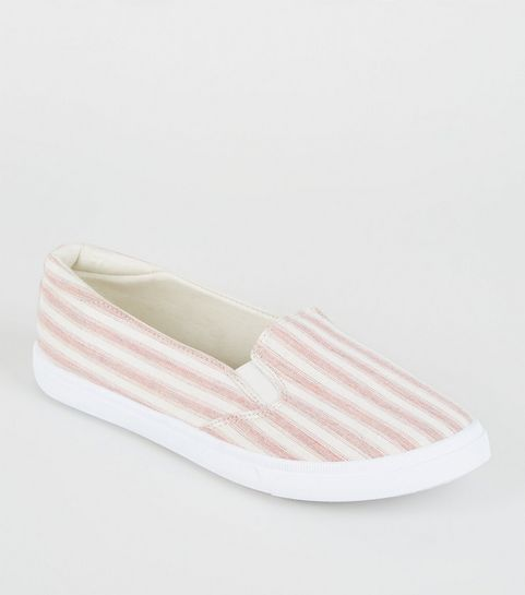 1cabc51ff6d5 ... Girls Red Canvas Stripe Slip On Trainers ...