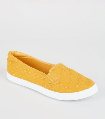 Girls Mustard Broderie Slip-On Trainers