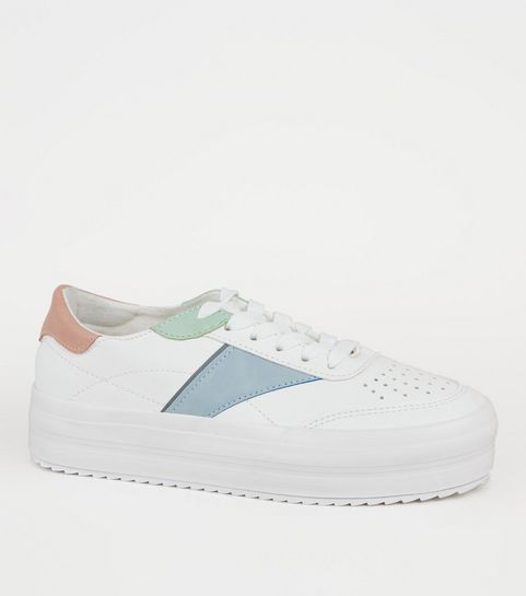 a07f42f6704 ... Girls White Leather-Look Colour Block Trainers ...