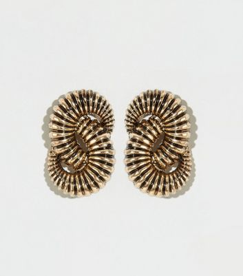Gold Double Link Stud Earrings
