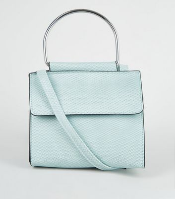 Mint Green Faux Snake Metal Handle Cross Body Bag