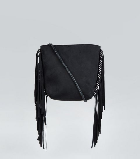 ... Black Fringed Plait Strap Bucket Bag ... 25d1195cc5f83