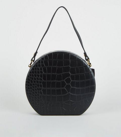 42d43613fb ... Black Faux Croc Round Shoulder Bag ...