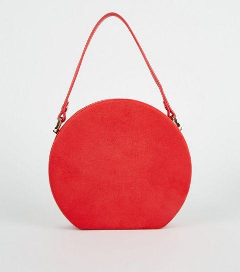 ... Red Suedette Round Shoulder Bag ...