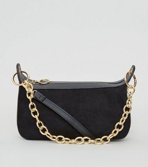 516784decc11 ... Black Suedette Chain Strap Shoulder Bag ...