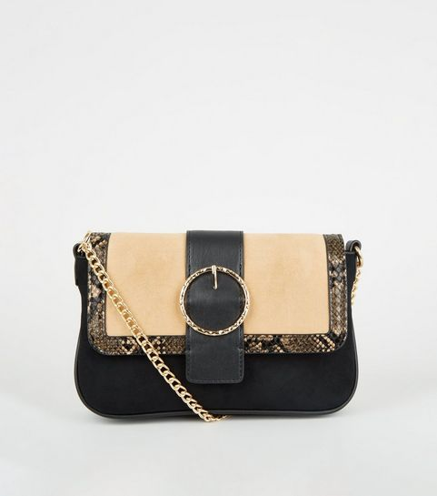 815446657f ... Brown Faux Snake Colour Block Shoulder Bag ...