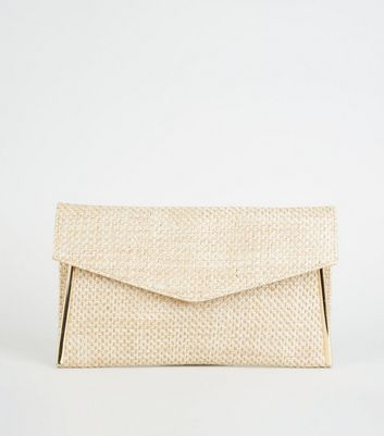 Graue Clutch in Stroh- und Web-Optik