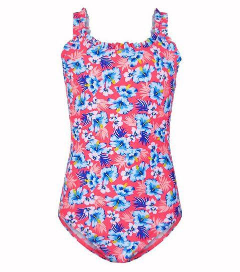 82b5f8a4c0 ... Girls Pink Tropical Floral Frill Swimsuit ...