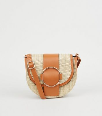 Stone Woven Straw Effect Saddle Bag