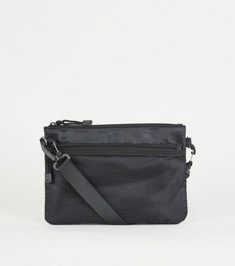 493b82a1e0 ... Black Mesh Pocket Cross Body Bag ...