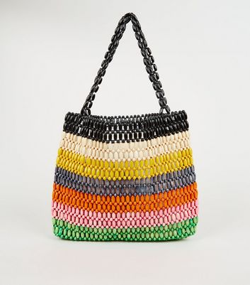 Rainbow Stripe Wood Bead Shopper Bag