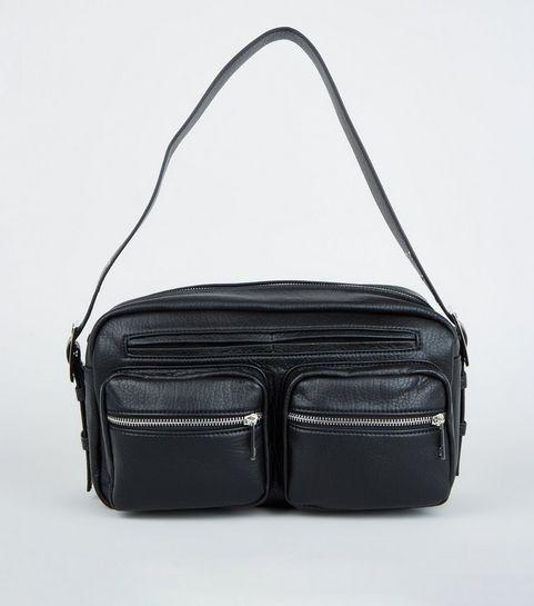 5775e8233b ... Black Leather-Look Utility Shoulder Bag ...