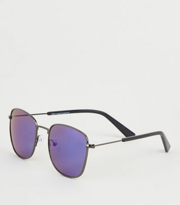 Bright Blue Tinted Square Lens Sunglasses