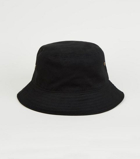 8f1ccb11701 ... Black Eyelet Side Bucket Hat ...