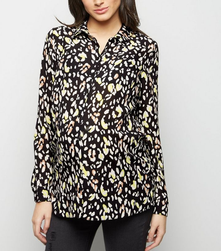 64b6c726a26 Maternity Black Leopard Print Shirt