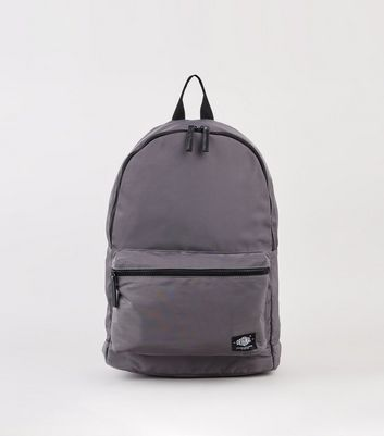 Grey High Shine Zip Up Backpack