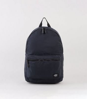 Navy High Shine Zip Up Backpack