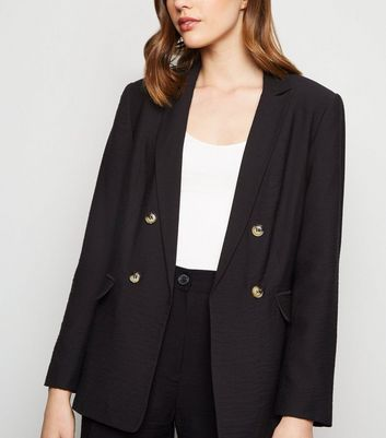 Black Twill Double Breasted Blazer