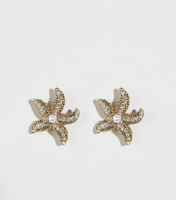 Gold Faux Pearl Starfish Stud Earrings