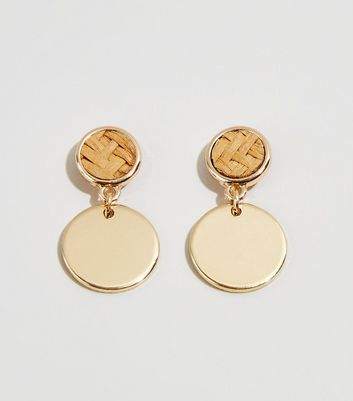 Gold Raffia Disc Earrings