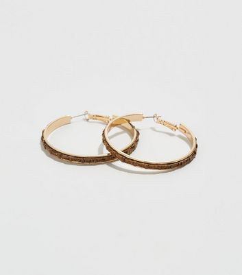 Brown Raffia Hoop Earrings