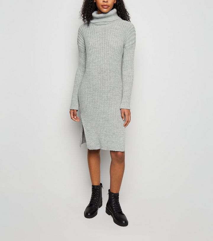 be78e6f17e05 Urban Bliss Pale Grey Roll Neck Knit Dress   New Look