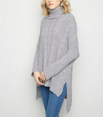 Urban Bliss Pale Grey Cable Knit Longline Jumper