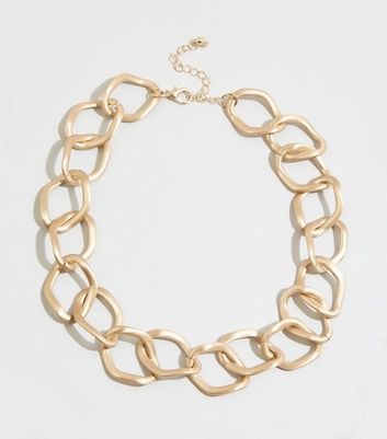 Gold Matte Chunky Chain Necklace