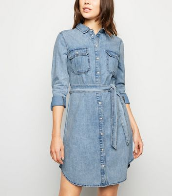 Bright Blue Bleach Denim Shirt Dress