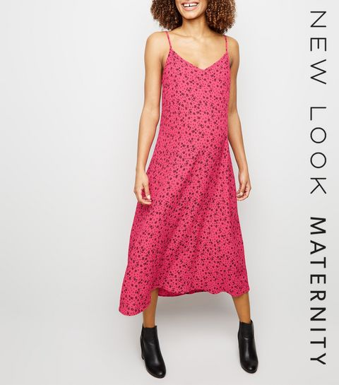 ... Maternité - Robe mi-longue rose à imprimé petits fleurs ... 0f3273bf55a