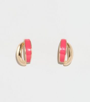 Pink Neon Crossover Stud Earrings