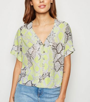 Green Neon Snake Print Button Up Shirt